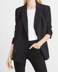 Express Supersoft Oversized Double Breasted Peak Lapel Cropped Business Blazer Pitch Black