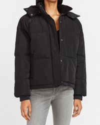 Express Sherpa Hooded Puffer Jacket Pitch Black