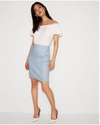 Express - High Waisted Linen-blend Seamed Pencil Skirt - Lyst