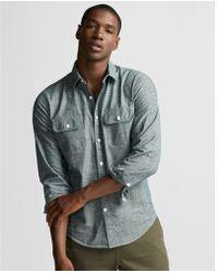 Express - Slim Two Pocket Chambray Shirt - Lyst