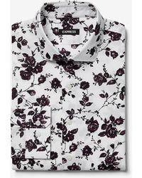 Express Extra Slim Rose Print Cotton Dress Shirt - White