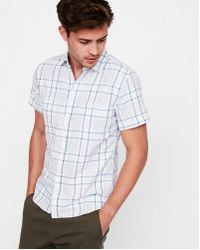 Express - Big & Tall Slim Plaid Short Sleeve Double Weave Shirt - Lyst