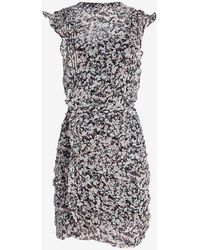 Express Printed Ruffle Ruched Front Dress Blue Print - Black