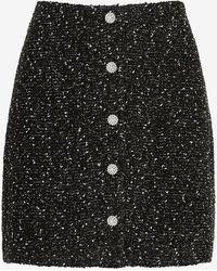 Express High Waisted Jewel Embellished Rhinestone Tweed Mini Skirt Pitch Black