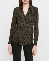 Express Slim Fit Leopard Print Portofino Shirt - Multicolour