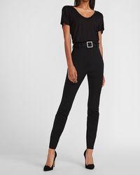 Express Super High Waisted Embellished Rhinestone Belt Skinny Pant Black 00 Short