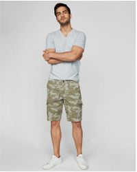 522860deb2 Lyst - Express 9 1/2 Inch Belted Flat Front Cargo Shorts - Khaki in ...