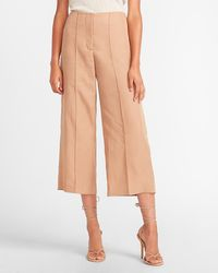 Express High Waisted Cropped Wide Leg Palazzo Twill Pant Brown 00 Short