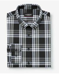 Express Slim Plaid Wrinkle-resistant Performance Dress Shirt Black Xs - Multicolor