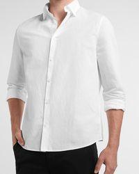 Express Slim Solid Linen Shirt White Xl Tall