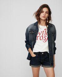 Express - Low Rise Double Roll Hem Jean Shorts - Lyst