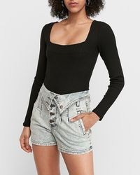 Express Super High Waisted Fold-over Button Fly Jean Shorts Blue 00
