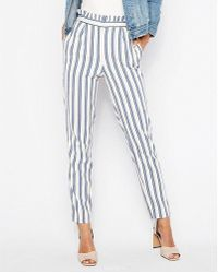 Express - High Waisted Stripe Ruffle Ankle Dress Pant - Lyst