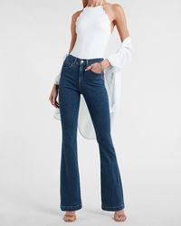 Express High Waisted Dark Wash Bootcut Jeans, Size:0 - Blue