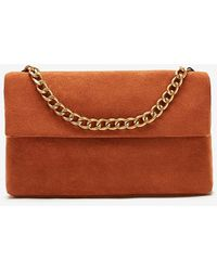 Express Soft Suede Chain Bag Brown - Multicolor