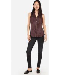 Express Slim Fit Satin Geo Print Sleeveless Portofino Shirt Purple Print