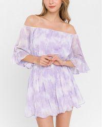 Express La'ven Off The Shoulder Ruffle Tie-dye Romper - Purple