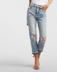 Express High Waisted Ripped Raw Released Hem Mom Jeans - Blue