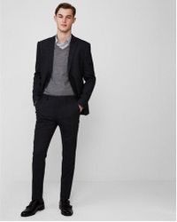 Express - Slim Navy Wool Blend Windowpane Plaid Suit Pant - Lyst