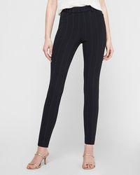 Express High Waisted Pinstripe Skinny Pant Blue 00 - Black