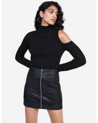 Express High Waisted Mixed Faux Leather Chevron Zip Front Mini Skirt Black