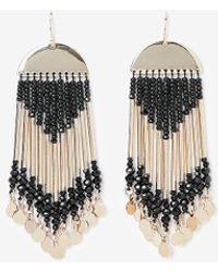 Express Seed Bead Fringe Post-back Drop Earrings - Black
