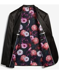 Express Slim Sateen Floral Lined Tuxedo Jacket Black 36 Short