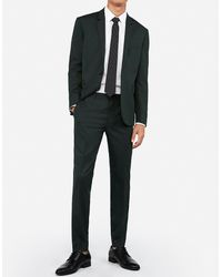 Express Extra Slim Dark Green Wool-blend Stretch Oxford Suit Pants - Multicolour