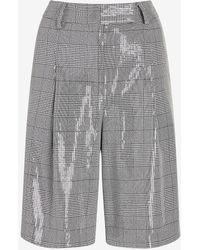 Express High Waisted Sequin Plaid Bermuda Shorts Black White