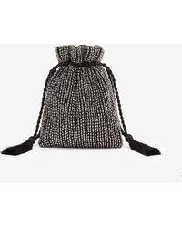 Express Embellished Rhinestone Drawstring Crossbody Bag - Black