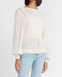 Express Open Stitch Pullover Jumper Light Oatmeal Heather - White