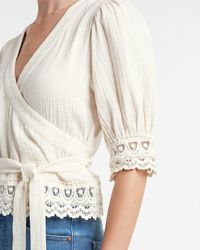 Express Textured Lace Trim Belted Wrap Front Top White Xxs
