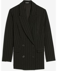 Express Oversized Double Breasted Pinstripe Cropped Business Blazer Black And White Stripe