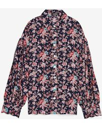 Express Floral Drop Shoulder Pleated Balloon Sleeve Shirt Print - Multicolour