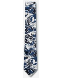 Express - Narrow Wave Scene Print Tie Blue - Lyst