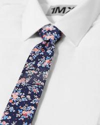 Express Skinny Floral Patterned Silk Tie Blue Reg