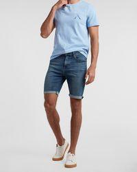 Express Medium Wash Hyper Stretch Jean Shorts - Blue