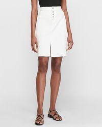 Express Super High Waisted White Button Front Denim Pencil Skirt