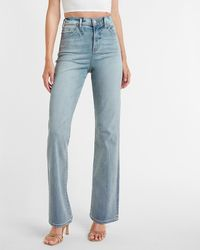 Express High Waisted Light Wash 90s Bootcut Jeans, Size:4 - Blue