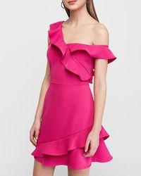 Express Off The Shoulder Ruffle Dress Pink Xxs Petite