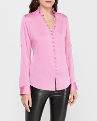 Express Slim Ruffle Covered Button Portofino Shirt Pink Xxs