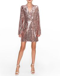 Express Endless Rose Pink Sequin Double Breasted Blazer Dress Gold - Metallic