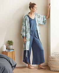 Express Upwest Washable Satin Robe Print L/xl - Blue