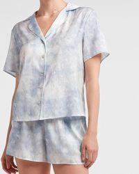 Express Short Sleeve Pyjama Shirt Blue Print - Multicolour