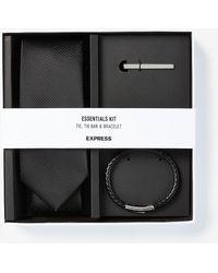 Express Solid Tie, Tie Bar & Bracelet Gift Set - Black