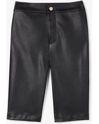 Express - Olivia Culpo High Waisted Faux Leather Bermuda Shorts Black - Lyst