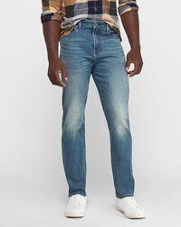 Express Athletic Tapered Slim Medium Wash Hyper Stretch Tough Jeans - Blue