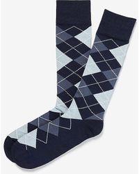 Express Classic Modal Argyle Dress Socks Blue