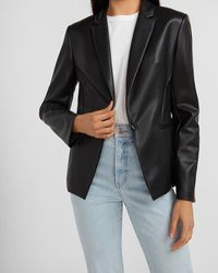 Express Faux Leather One Button Cropped Business Blazer Black Xs