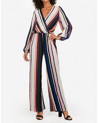 Express Stripe Surplice Wide Leg Palazzo Jumpsuit Stripe Xxs - Blue